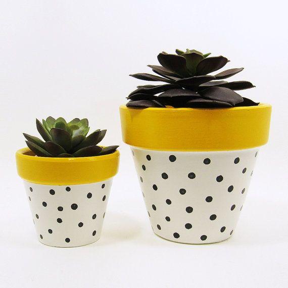 Add A Colorful Touch To Your Home Or Office With This Unique Handpainted Terracotta Pot With Sunny Yellow Rim Painted Plant Pots Diy Flower Pots Yellow Planter