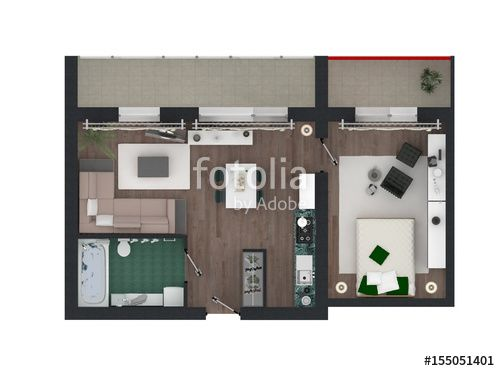 3d Floor Plan #apartment #3d #architecture #bathroom #flat #floor #