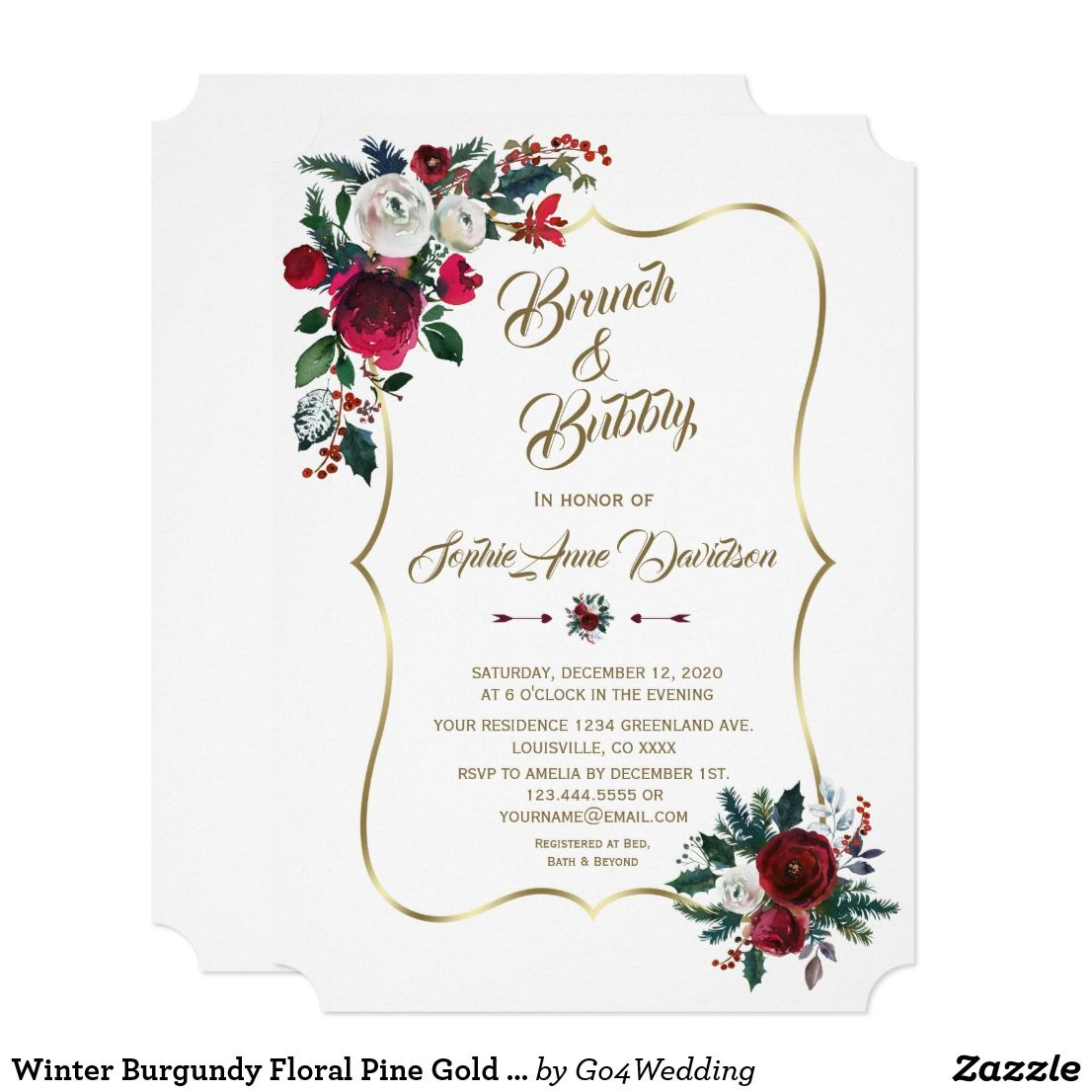 77c21fbc4791 Winter Burgundy Floral Pine Gold Brunch   Bubbly Invitation in 2018 ...