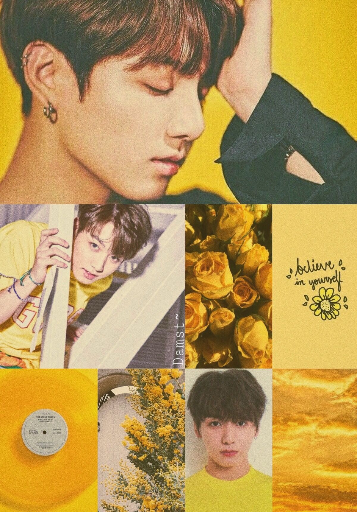 Jungkook Aesthetic Wallpaper Yellow