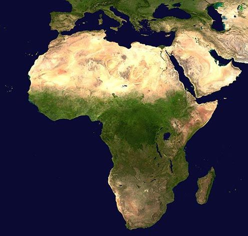 satellite view of Africa Around the world People and places - new world map of africa