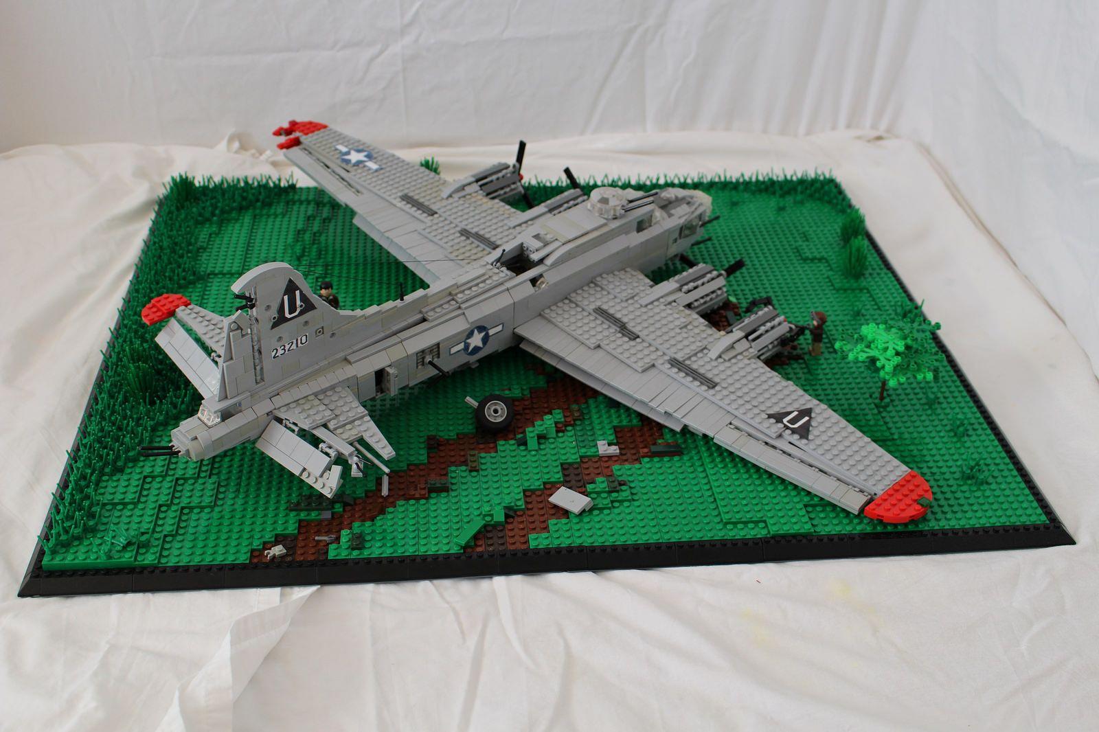 B17g fying fortress crash landing lego plane lego by
