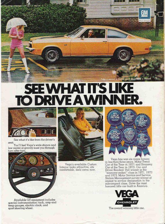 =-=Vintage 1974 Chevrolet Vega Car Advertisement