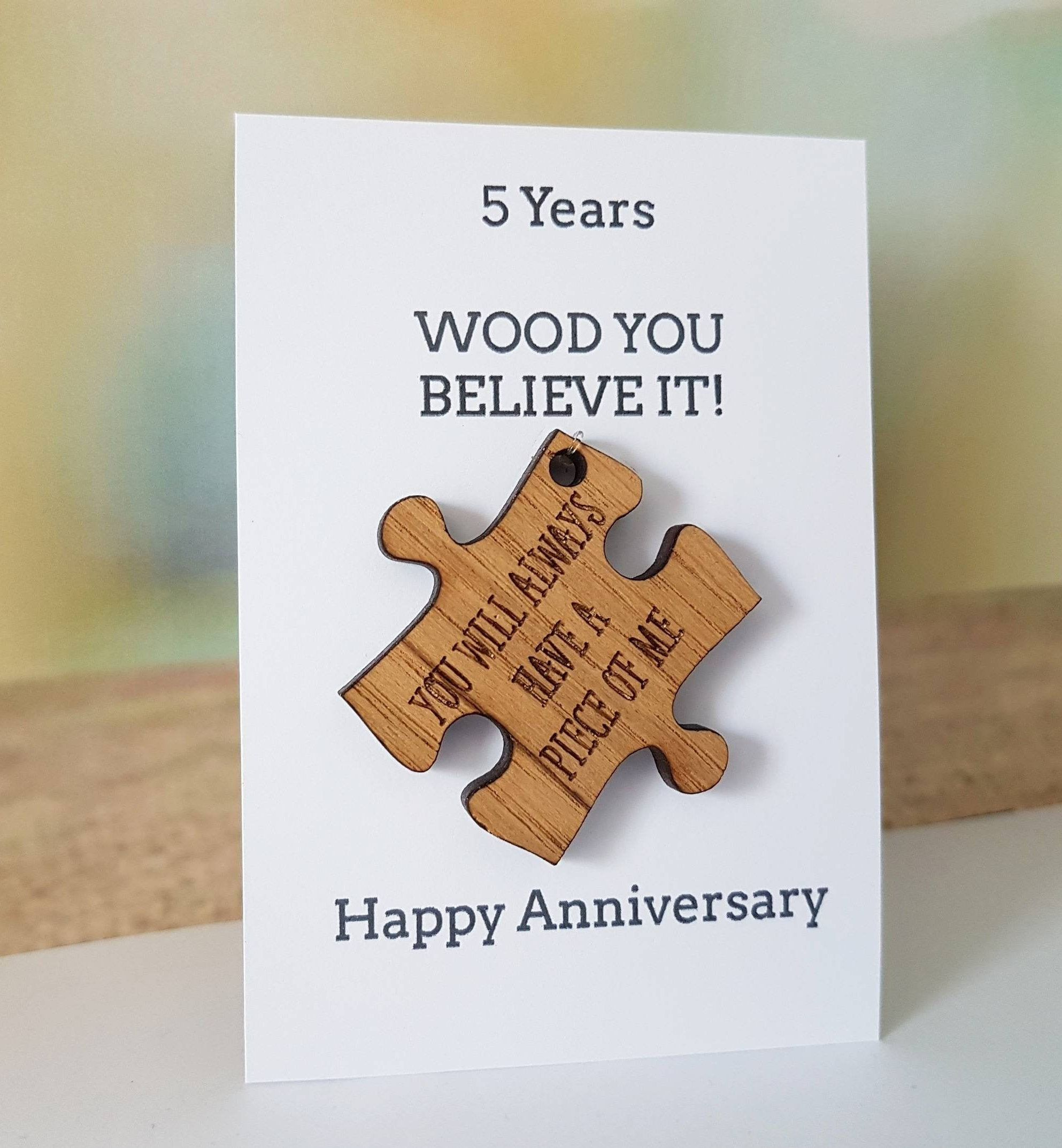 5th Anniversary Card, HusbandGift, Wife Card, Wood, Wooden