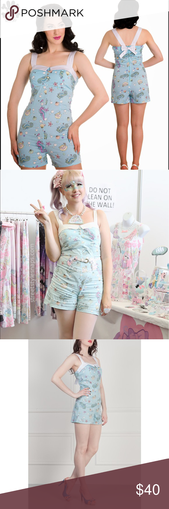 81d30518991 Hell Bunny SEAHORSE - Sea Sparkle Playsuit Blue  50s rockabilly playsuit  All over print of