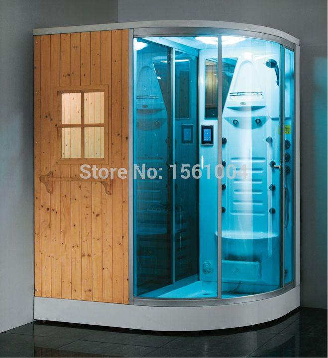 luxury solid wood dry steam sauna and wet steam shower bath combination sauna cabin room
