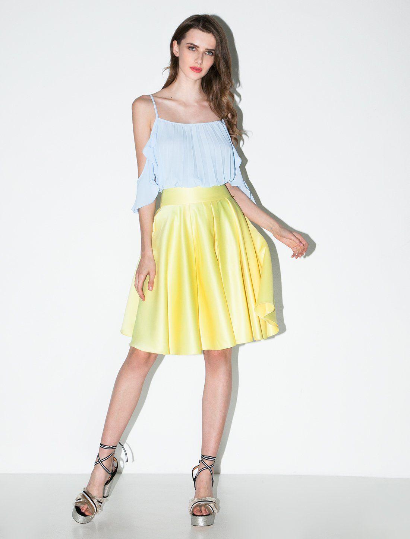 d45d5446b6fb Μίντι κίτρινη φούστα Γυναικεία   Ρούχα   Φούστες Toi Moi