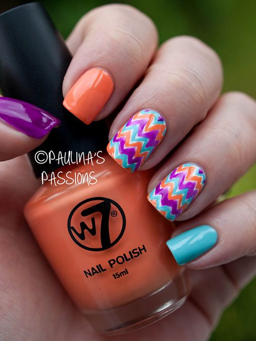 Nail Designs Tumblr Nail Art Colorful Nails Color Chevron Nails