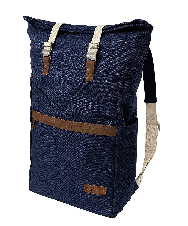 de75089eaa9ed Ansvar Rucksack aus Bio Baumwoll Canvas - Blau - Hochwertiger Damen   Herren  Vintage Tagesrucksack aus 100% nachhaltigen Materialien - Der erste Rucksack  ...