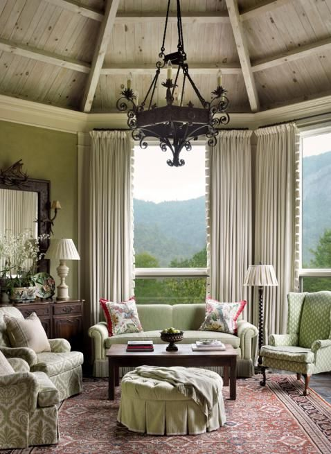 Damask Living Room Decor: Muted Lime Green Living Room With Damask Chairs And