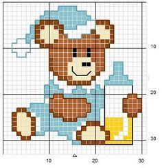 piccola raccolta di schemi a punto croce per bambini a tema orsetti per biancheria bavette grembiulini vestitini lenzuolini ecc