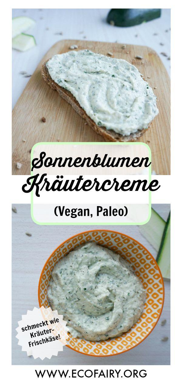 Sonnenblumen Kräutercreme - schmeckt wie Kräuter-Frischkäse! (Vegan, Paleo) #veganerezepte