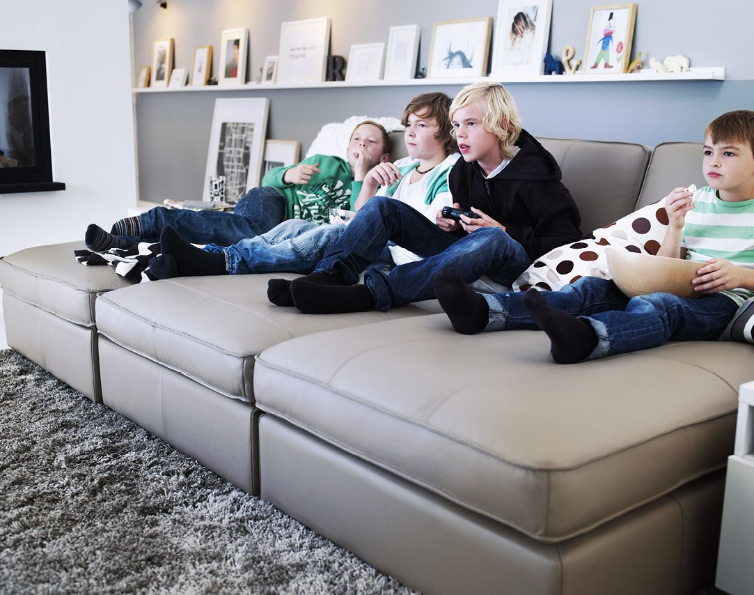 Ikea Kivik Chaise Longue In Leather With Children Who Play Video