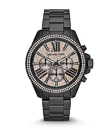 Michael Kors Womens Wren Black Chronograph Watch #Dillards ...