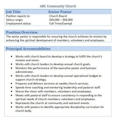 Sample Church Employee Job Descriptions  Job Description