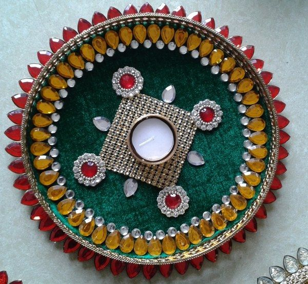 Aarti thali decoration google search thali pinterest for Aarti thali decoration with kundan