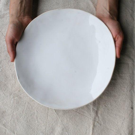 Handmade White Dinner Plates Rustic by TagliaferroCeramics on Etsy