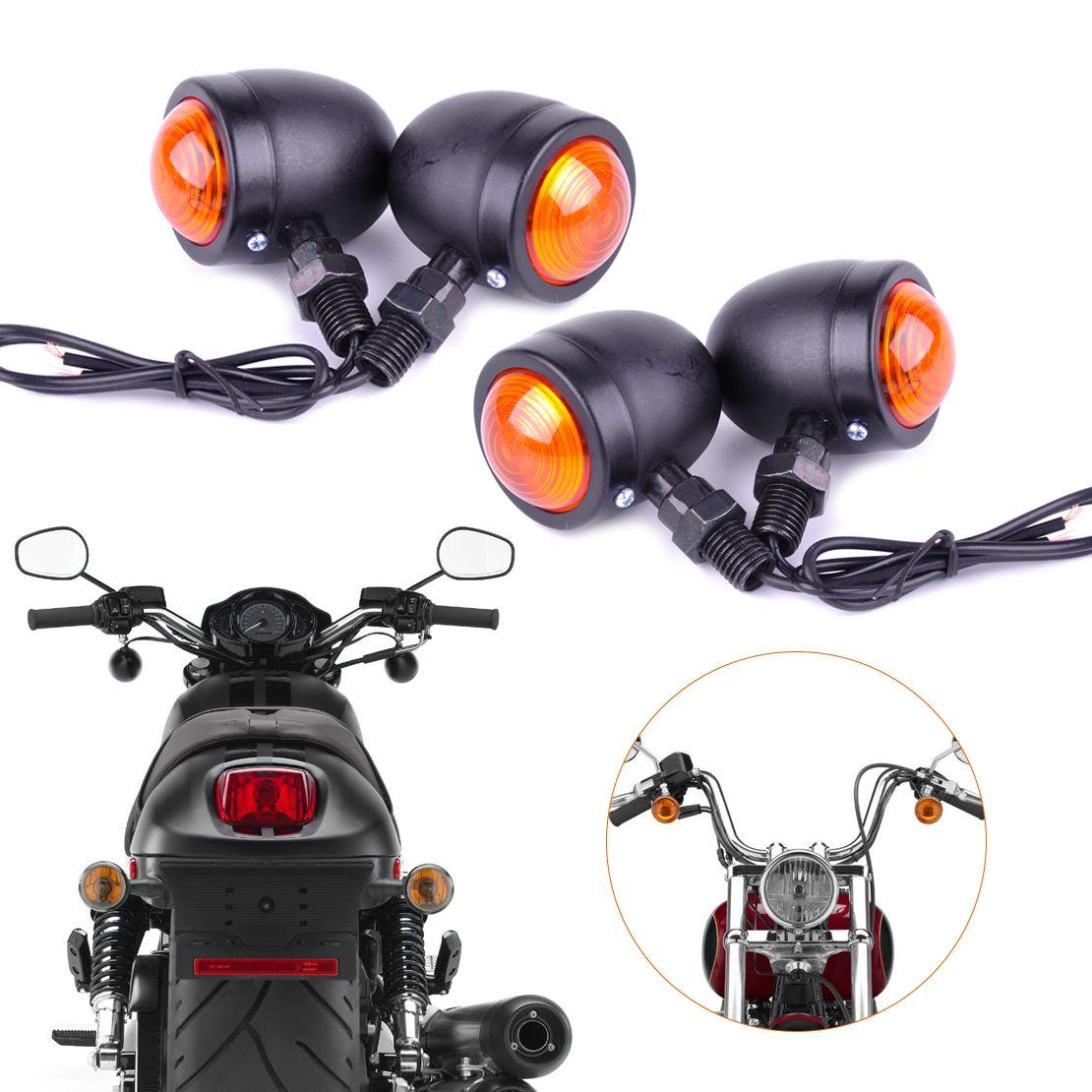4x Motorcycle Bullet Turn Signal Lights For Harley Cafe Racer Bobber Chopper