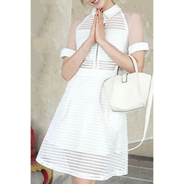 Sweet Flat Collar See-Through Design Solid Color Dress For