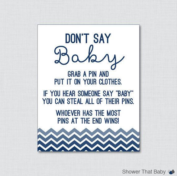 Baby Shower Clothes Pin Game Delectable Don't Say Baby Baby Shower Game In Navy Ombre Chevron Printable
