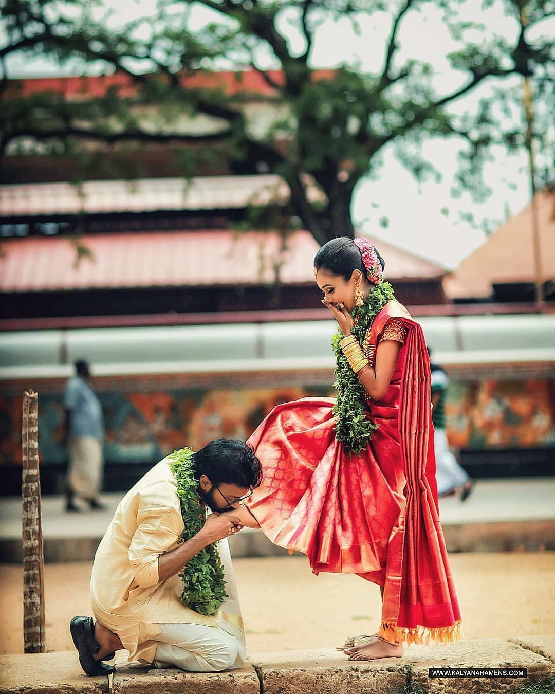 Red Gold Traditional Kanjeevaram Saree Indian Wedding Couple Photography Wedding Photoshoot Poses Wedding Couples Photography