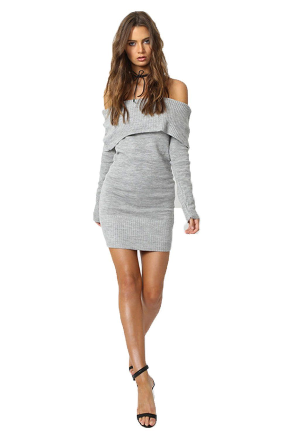 418906dd5f4 ALAIX Womens Sexy Off Shoulder Long Sleeve Pencil Bodycon Knitted Sweater  Mini DressGrey One Size     You can get additional details at the image  link.