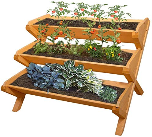 Amazon Com Yardeen 3 Tier Cascading Raised Bed Garden Planter Stand Vertical Vegetable Patio Deck Balco In 2020 Tiered Planter Garden Planters Wooden Garden Planters