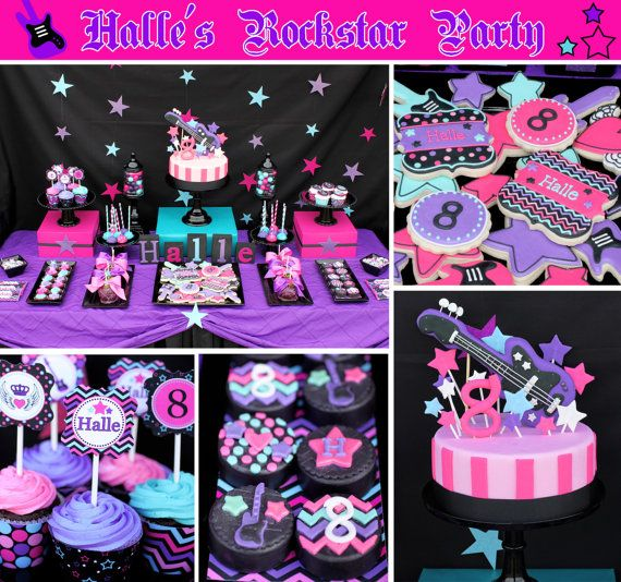 Rockstar girl birthday party printable deluxe party package black diy rockstar girl birthday party printable deluxe party package black pink teal purple guitar altavistaventures Images
