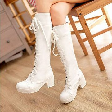 Knee High Pure Color Lace Up Square Heel Martin Boots
