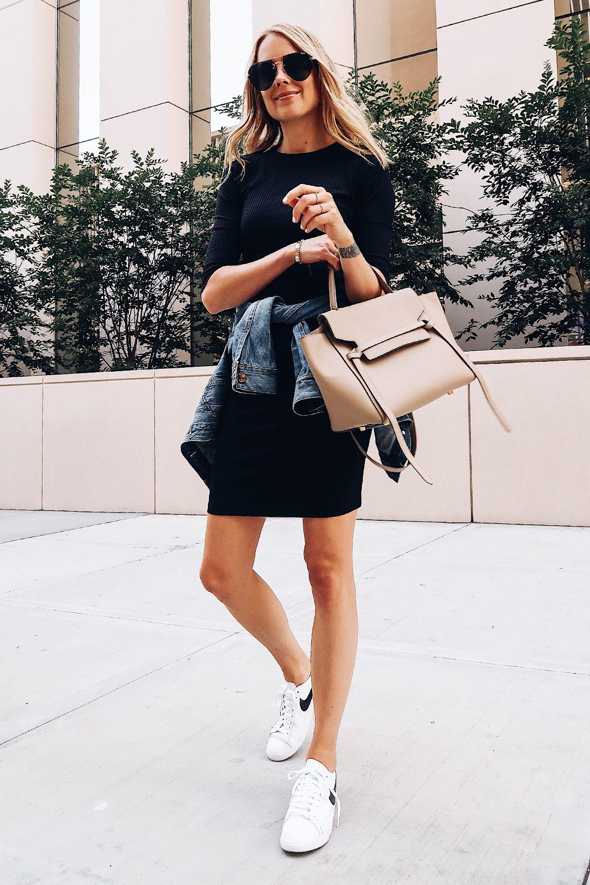 Blonde Woman Wearing Little Black Dress Denim Jacket White Nike Blazer Sneakers Celine Mini Belt Bag Avi Work Outfits Women Casual Fall Outfits Fashion Jackson [ 1800 x 1200 Pixel ]