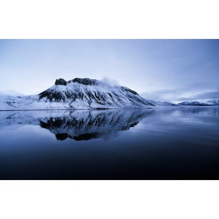 Mountain Reflection Grise Fiord Nunavut Canvas Art - Robert Postma Design Pics (18 x 12)