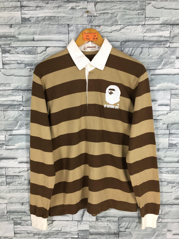 47e40bcdd A BATHING APE Polo Rugby Shirt Small Nigo Japan Bape Streetwear Border  Stripes Ape Shall Never Kill Ape Long Sleeves Shirt Polos Size S by ...