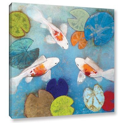 "Latitude Run Koi 2 Painting Print on Wrapped Canvas Size: 18"" H x 18"" W x 2"" D"