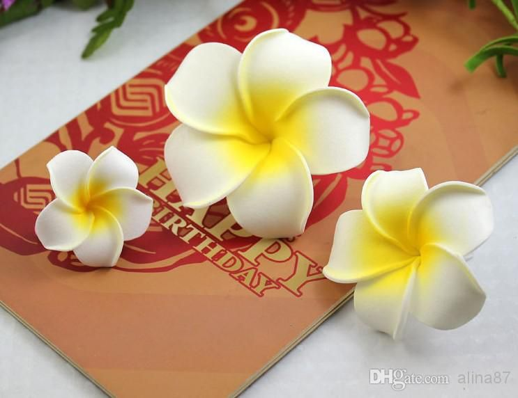 4 11cm Hawaii Frangipani Artificial Flowers Pe Foam Plumeria Flower For Jewelry Brooch Diy Hair Accessories And W Flores De Fita Pompons De Papel Flores Em Eva