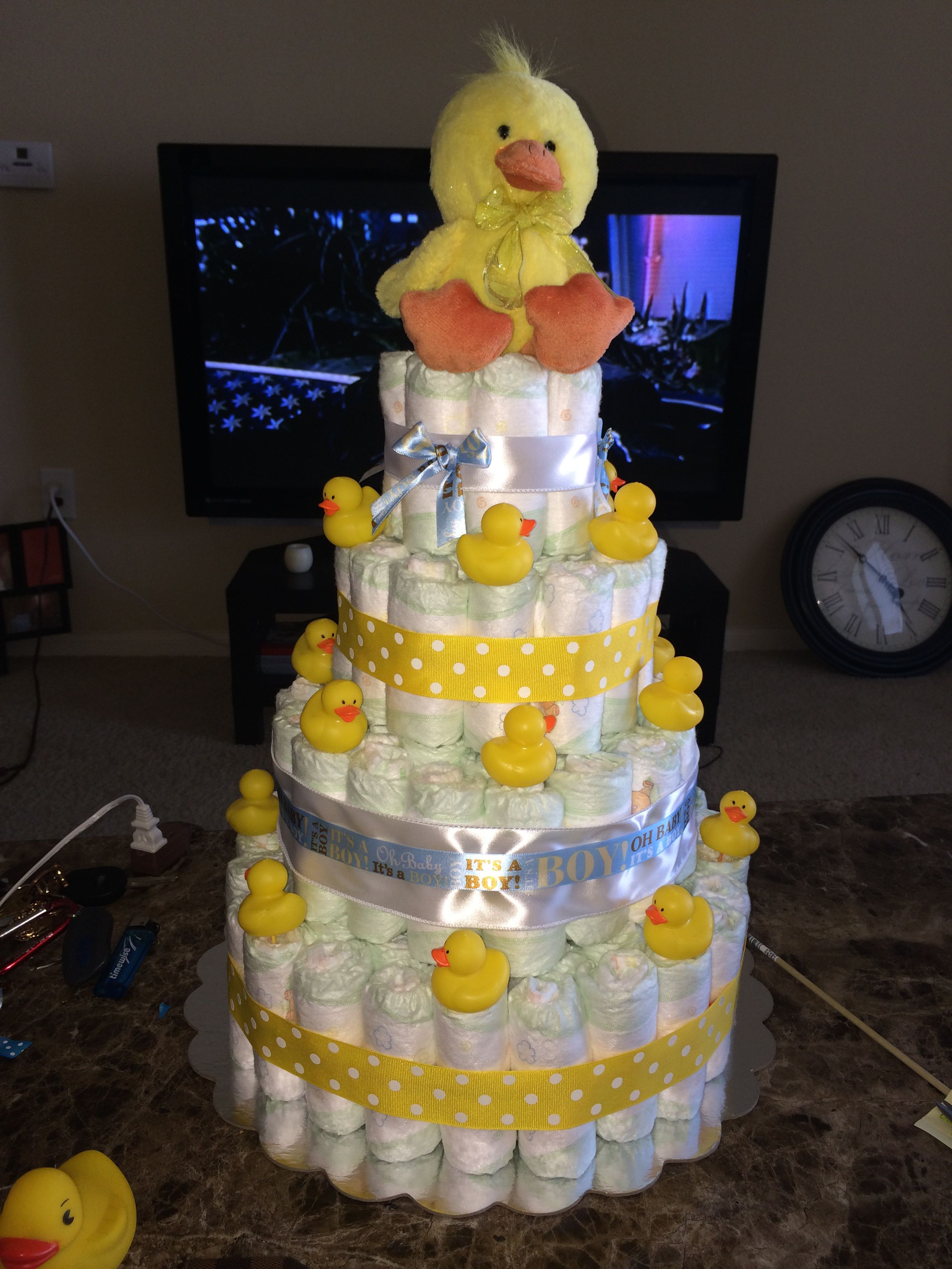 Rubber Duck Diaper Cake With Images Rubber Ducky Baby Shower