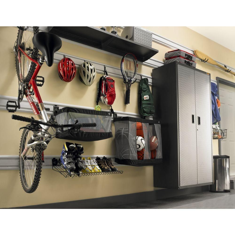 Gladiator 24 In W Ball Caddy Garage Storage For Geartrack Or Gearwall Gawuxxblth The Home Depot Garage Storage Gladiator Garage Garage Wall Organizer