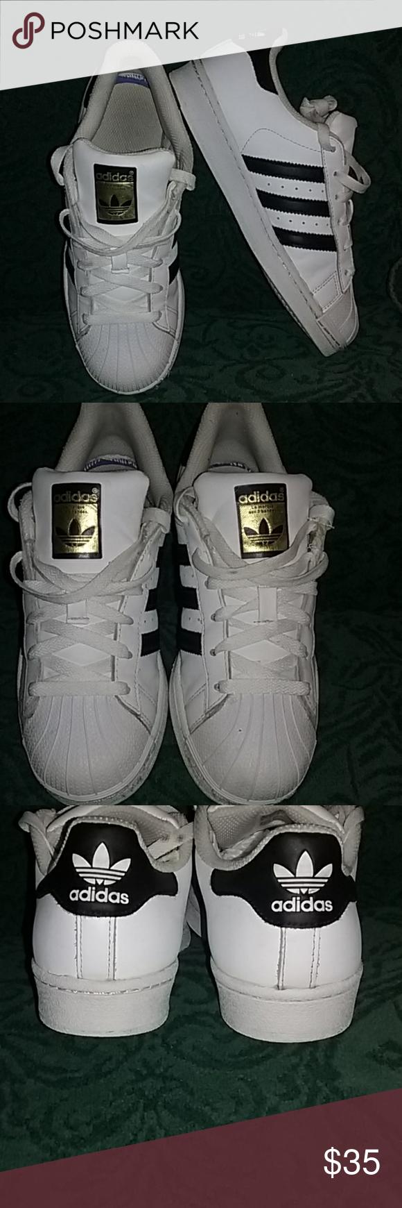 Adidas Ladies Sneakers White LEATHER/Black stripes, EXCELLENT ...