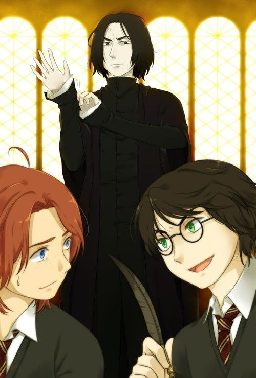 Ron Harry And Snape Harry Potter Anime Harry Potter Severus Snape Harry Potter