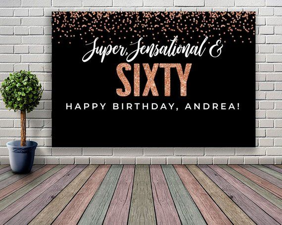 60th BIRTHDAY BANNER  BUNTING PARTY DECORATION BLACK /& ROSE GOLD