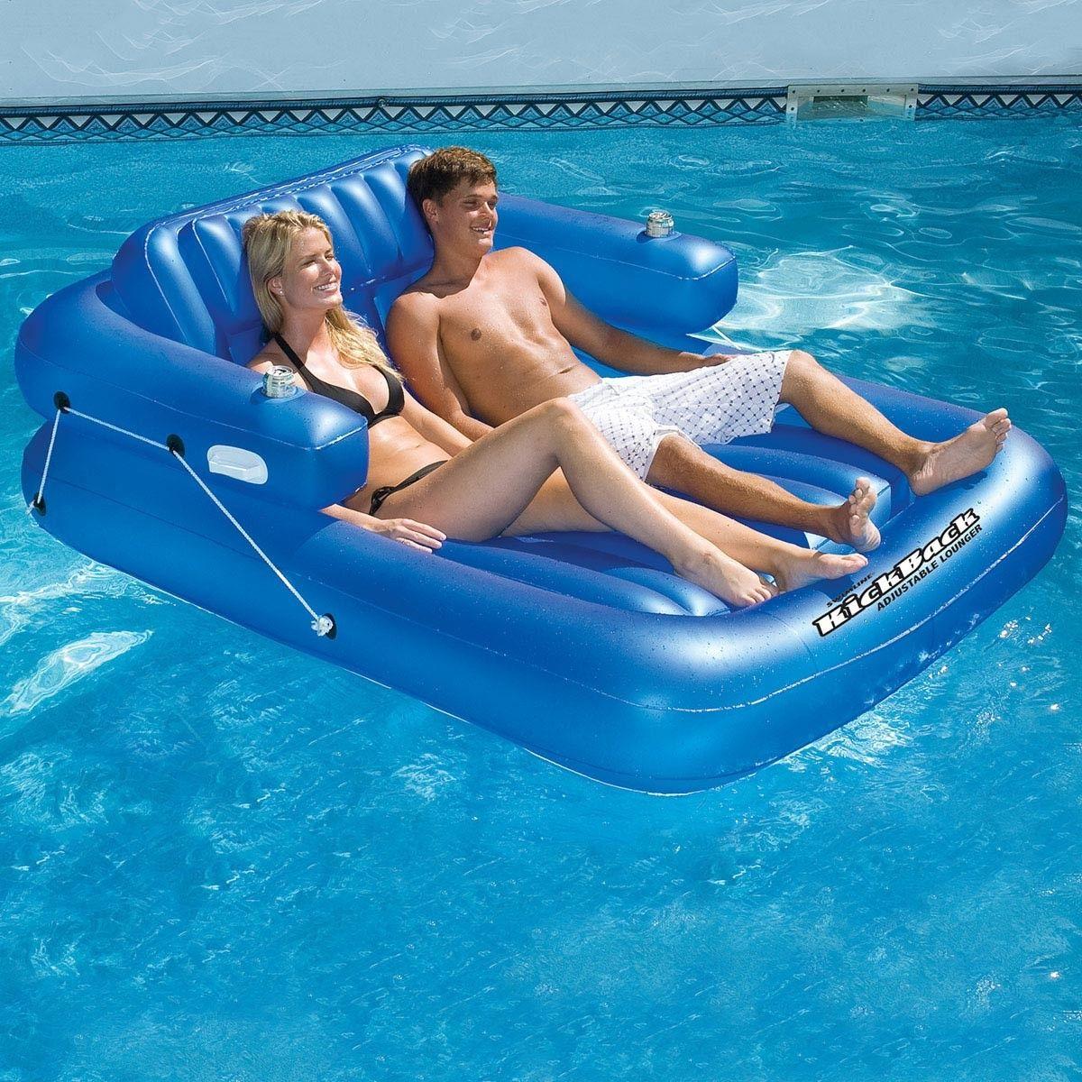 Swimline Kickback Double Adjustable Lounger Swimming Pool Floats Pool Floats Pool Lounger
