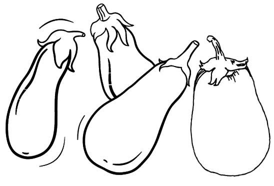 Simple Eggplant Coloring Page Vegetable coloring pages