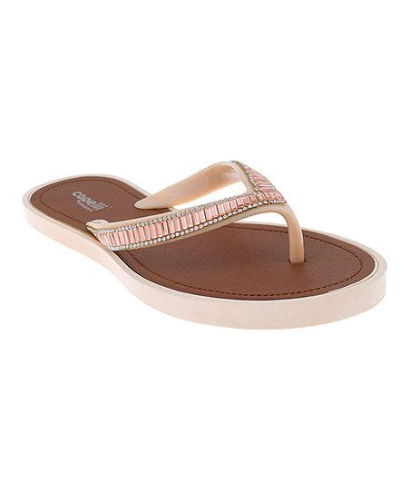 fbb5c4d81 Capelli New York Nude Rhinestone-Trim Jelly Flip-Flop