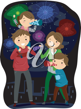 Illustration Of A Family Celebrating The Coming Of The New Year New Year Illustration Family Illustration New Year Clipart