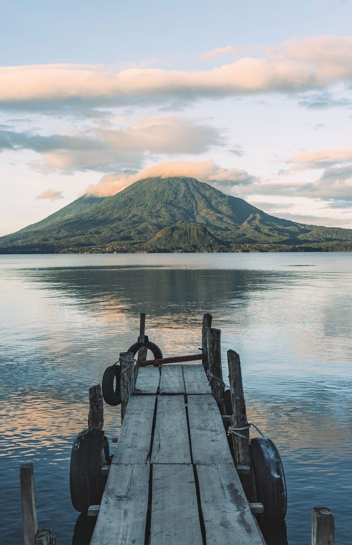 Sunrise from Panajachel town at Lake Atitlan in Guatemala, Central America