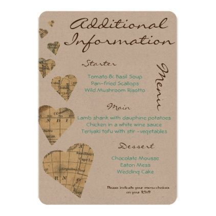 vintage map hearts additional information card wedding invitations