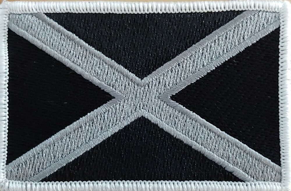 Scotland Flag Patch W Velcro Brand Fastener St Andrew S Cross Black White 02 Fastservicedesigns Patches Flag Patches St Andrews Cross Patches