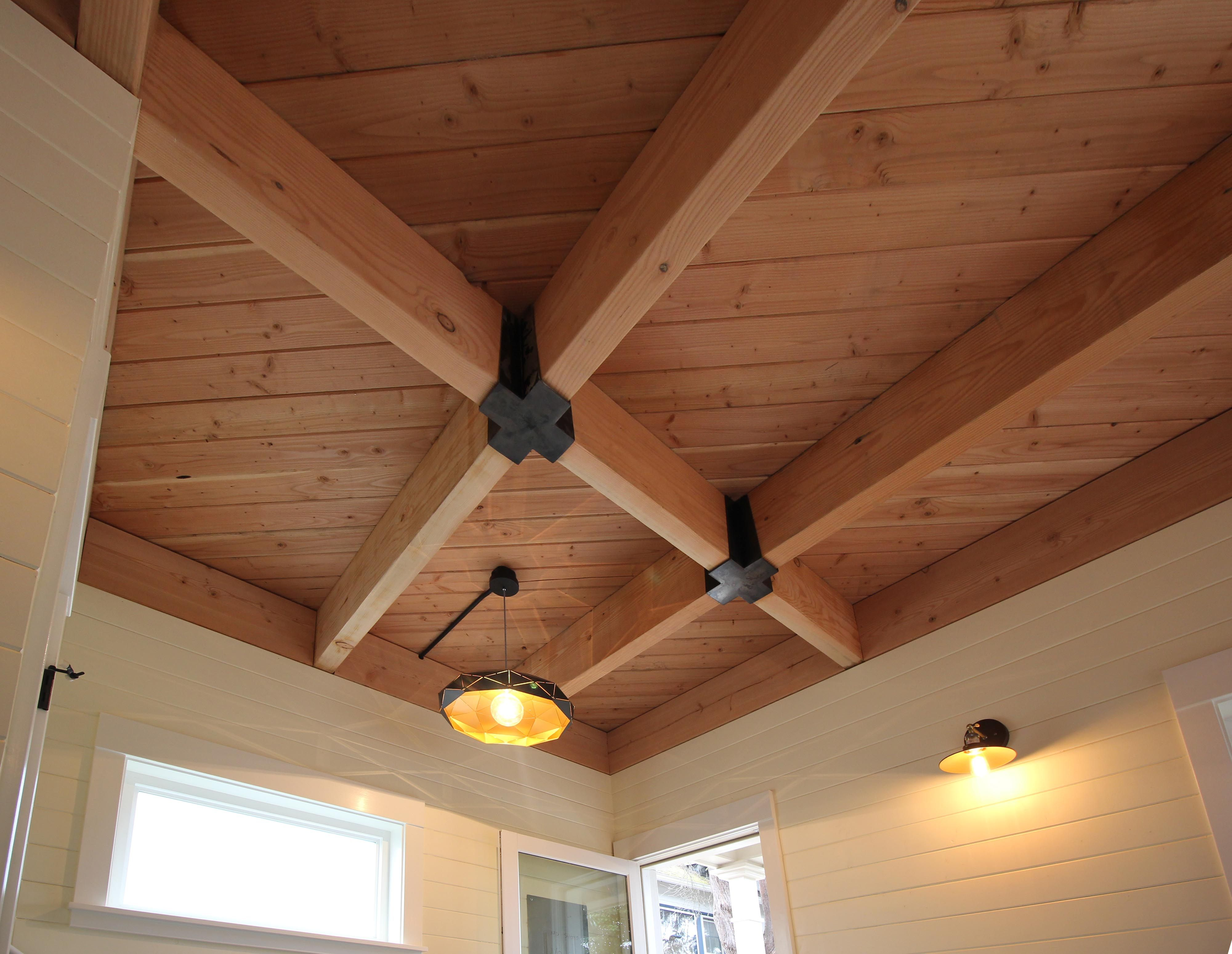 Exposed Fir T G Ceilings With Beams And Custom Joist Hangers Shiplap Clad Walls