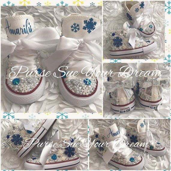 aef890956d0c3 Personalized Frozen Themed Pearl and Swarovski Crystal Converse ...