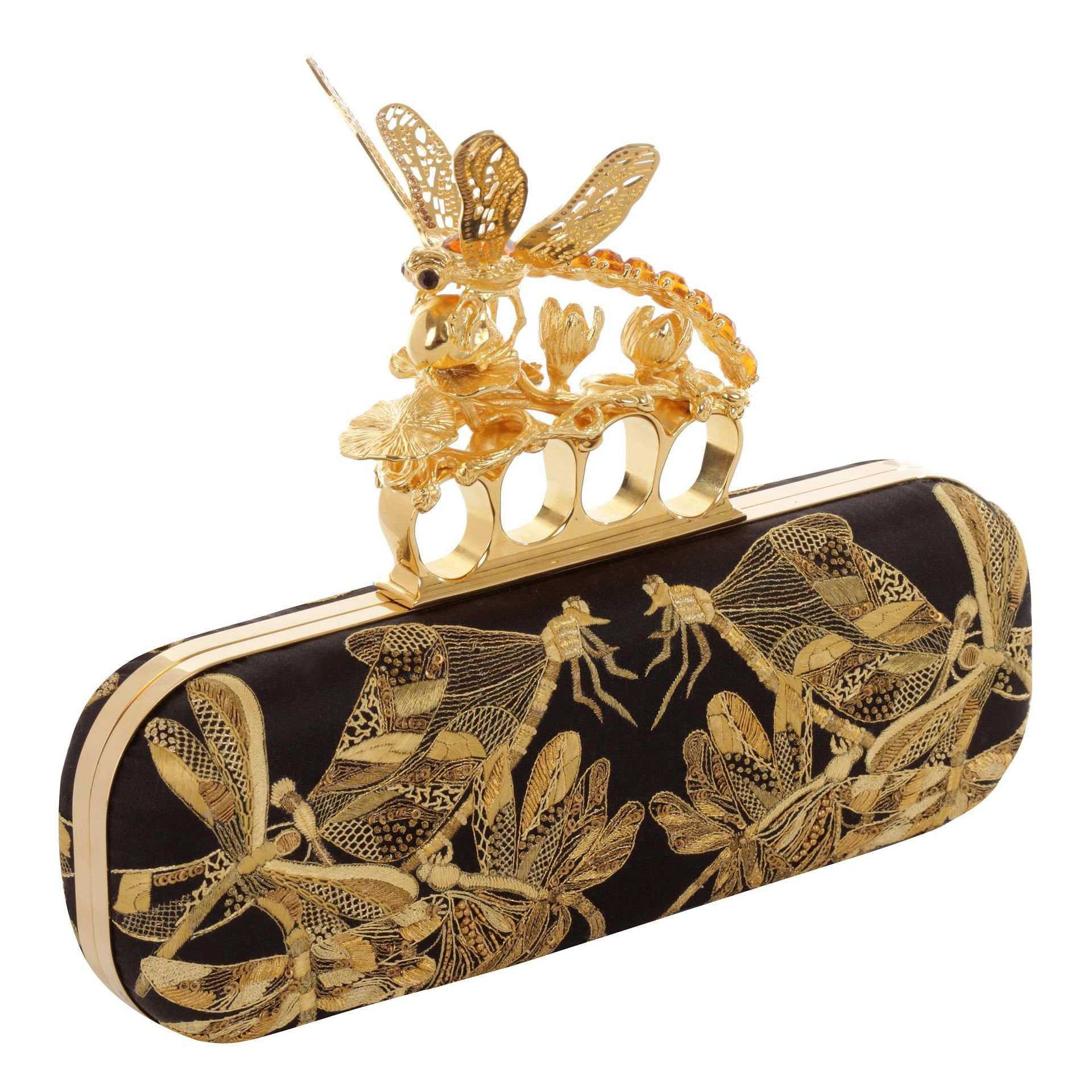 Embroidered Dragonfly Knucklebox Clutch- Alexander McQueen ...