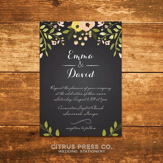Diy Chalkboard Wedding Invitations: Chalkboard Wedding Invitation With Flowers